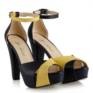 Platform Ayakkabı Sarı Lacivert