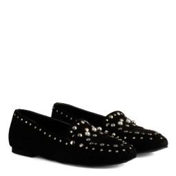 Babet Ayakkabı Siyah Süet Zımbalı