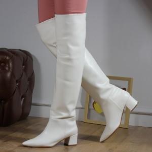 Topuklu Çizme Büzgülü Beyaz Renk