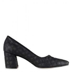 Siyah Kapitone Desenli Topuklu Ayakkabı