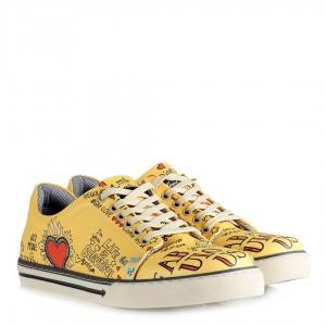 Sneakers Sarı Desenli Kalpli Ayakkabı