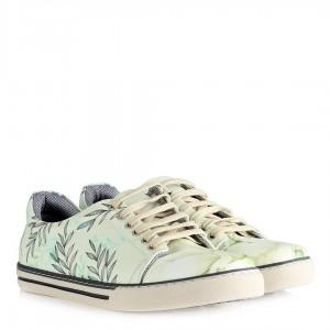 Sneakers Ayakkabı Bej Yaprak Baskılı