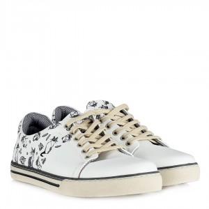 Sneakers Ayakkabı Beyaz Kedi Baskı Bağcıklı