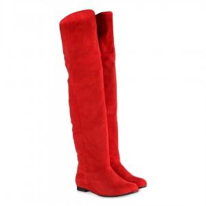 Binici Model Kırmızı Süet Uzun Çizme