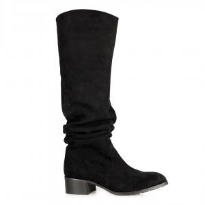 Kısa Topuklu Çizme Siyah Büzgülü Model
