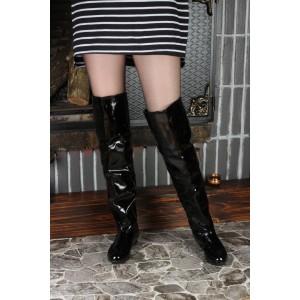 Siyah Rugan Dizüstü Binici Kadın Çizme