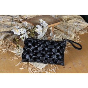 Siyah Desenli Clutch Çanta Zincir Askılı