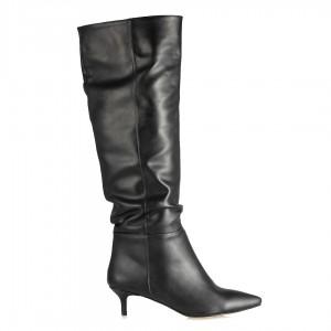Topuklu Çizme Siyah Büzgülü Model