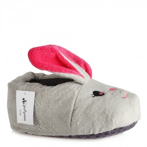 Hayvanlı Panduf Bayan Terlik Gri Tavşan