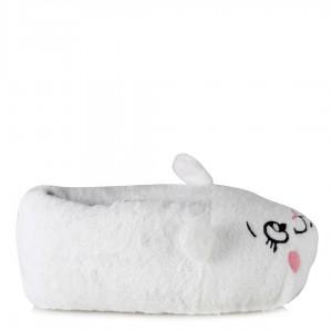 Beyaz Kedi Hayvanlı Panduf Bayan Terlik