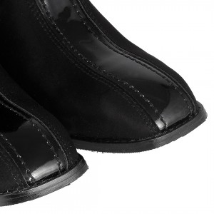 Siyah Kare Topuklu Küt Burunlu Bayan Bot