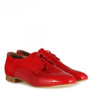 Düz Ayakkabı Bağcıklı Kırmızı Rugan Süet