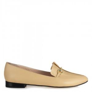 Hakiki Deri Düz Ayakkabı Babet Leblebi Rengi