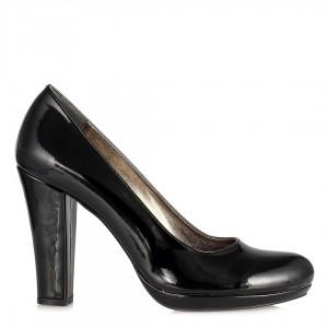 Klasik Topuklu Siyah Rugan Ayakkabı