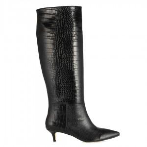 Kısa Topuklu Çizme Crocodil Desenli