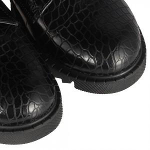Postal Çizme Kadın Siyah Crocodil Desenli