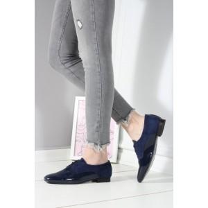 Lacivert Rugan Ayakkabı Bağcıklı