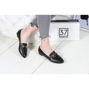 Siyah Hakiki Deri Düz Ayakkabı Babet