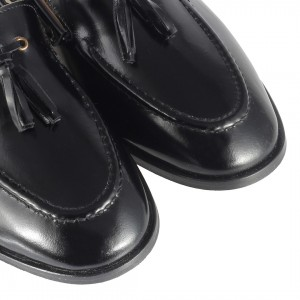 Düz Ayakkabı Loafer Siyah Açma Hakiki Deri