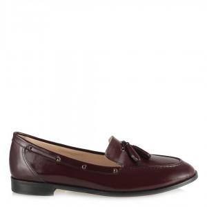 Bordo Açma Hakiki Deri Düz Ayakkabı Loafer