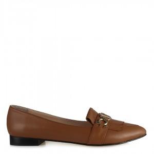 Taba Hakiki Deri Tokalı Babet Ayakkabı