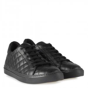 Spor Ayakkabı Bağcıklı Siyah Kapitone Desenli