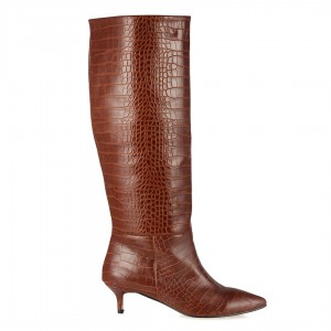 Taba Crocodile Desenli Kısa Topuklu Çizme