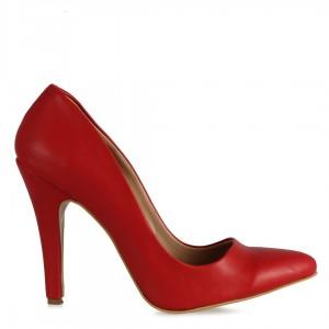 Kadın Stiletto Kırmızı Deri Ayakkabı