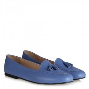Babet Ayakkabı Mavi Hakiki Deri Püsküllü