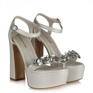 Gelin Ayakkabısı Taşlı Platform Kalın Topuklu