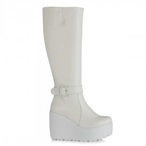 Beyaz Dolgu Topuk Çizme