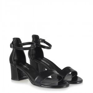 Az Topuklu Siyah Rugan Kırışık Ayakkabı