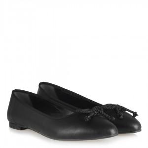 Siyah Fiyonklu Sivri Babet Ayakkabı