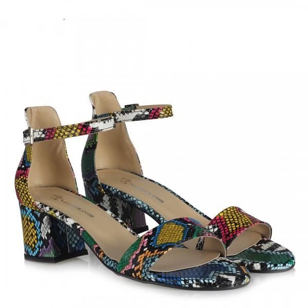 Sandalet Ayakkabı Az Topuklu Renkli Yılan Desenli
