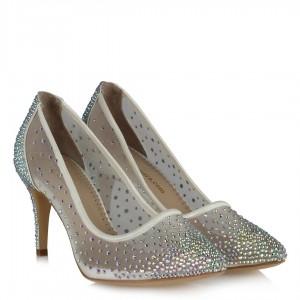 Prenses Nikah Ayakkabısı Taşlı Tül Beyaz