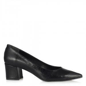 Siyah Kırışık Kalın Topuklu Stiletto