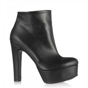 Siyah Mat Platform Topuklu Bot