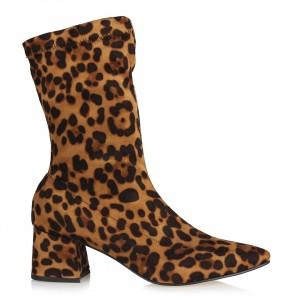 Leopar Çorap Bot Topuklu