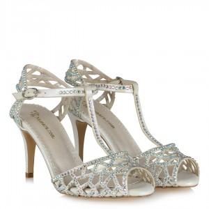 Gelin Ayakkabısı Kırık Beyaz Taşlı Kemerli