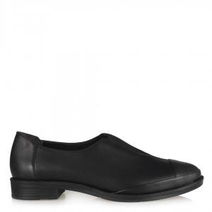 Deri Ayakkabı Siyah Lastikli Düz Model