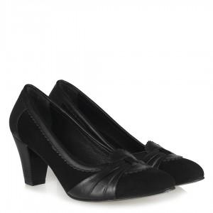 Hakiki Deri Süet Ayakkabı Siyah Topuklu