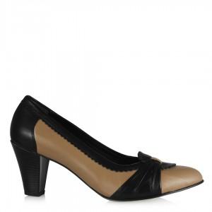 Topuklu Deri Ayakkabı Vizon Siyah
