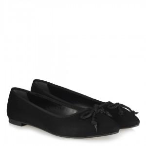 Babet Ayakkabı Siyah Süet Fiyonklu Sivri