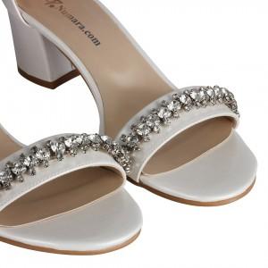 Gelin Ayakkabısı Tek Bantlı Kırık Beyaz Taşlı Tasarım