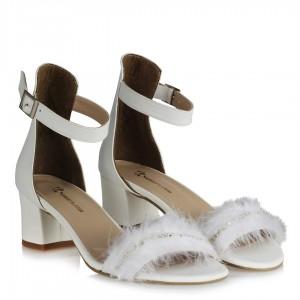 Nikah Ayakkabısı Az Topuklu Tasarım Tüy Taş
