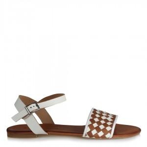 Sandalet Taba Beyaz Kareli Hakiki Deri