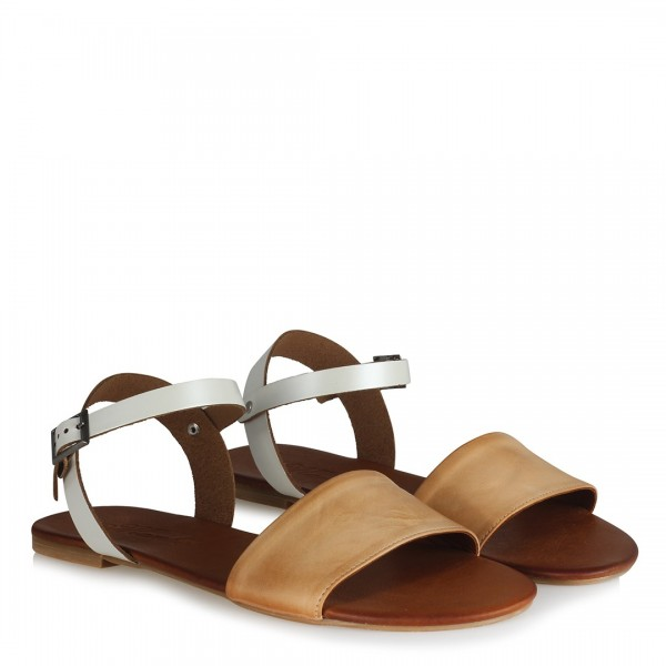 Hakiki Deri Camel Beyaz Bantlı Sandalet