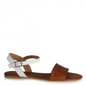Hakiki Deri Taba Beyaz Kemerli Sandalet