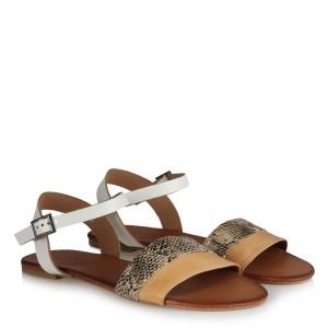 Camel Yılan Desenli Bantlı Deri Sandalet