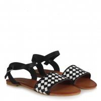 Siyah Beyaz Kareli Hakiki Deri Sandalet